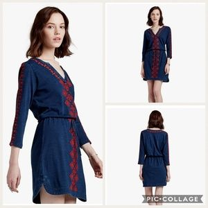 Lucky Brand Embroidered Indigo Dress LG